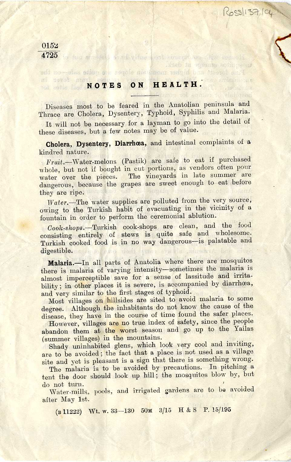 Pamphlet: 'Notes on Health' issued by the War Office in 1915 relating to diseases in the Anatolian peninsular