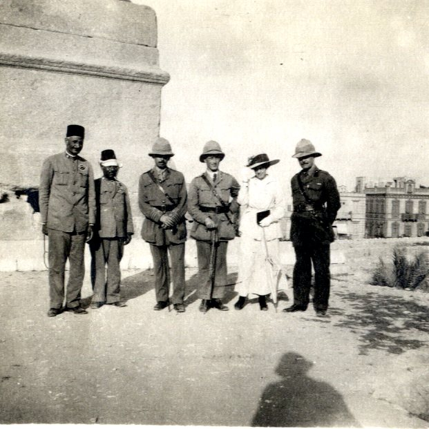 'Pompey's pillar and members of Sanitary Commission' Alexandria, Aug 1915