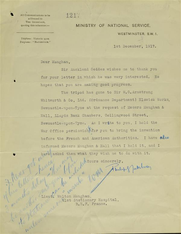 Permission to bring the invention, mount for machine gun, before the Frenh and Americans 1 Dec 1917