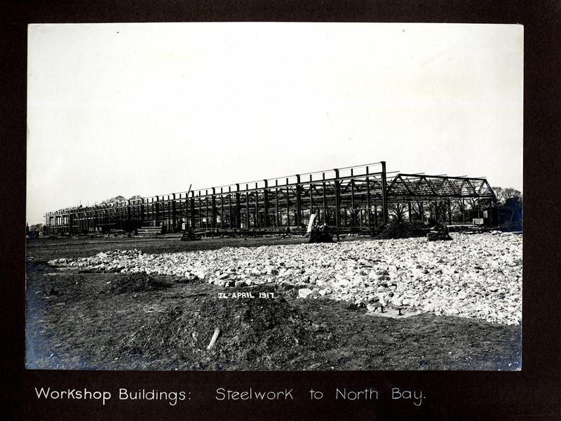 Workshop buildings, steelwork to north bay