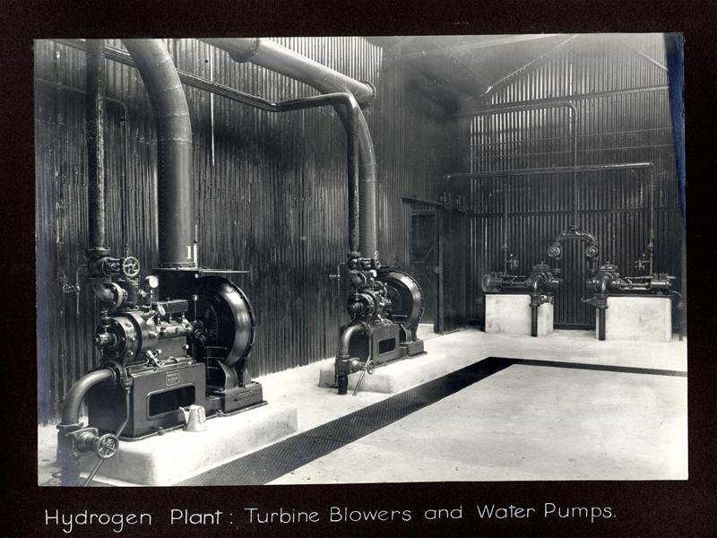 Hydrogen plant, turbine blowers and water pumps