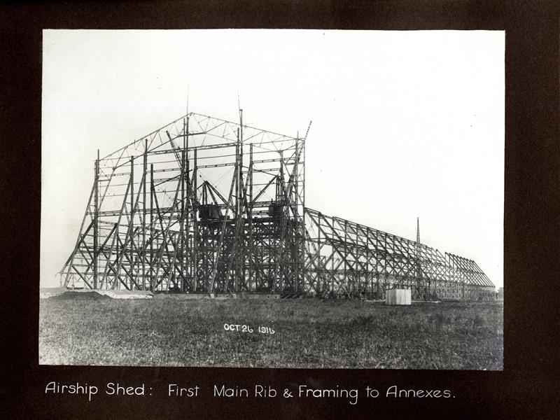 Airship shed, first main rib and framing to annexes