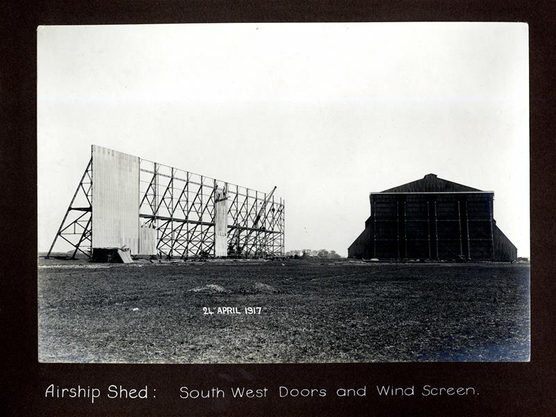 Airship shed, south west doors and wind screen