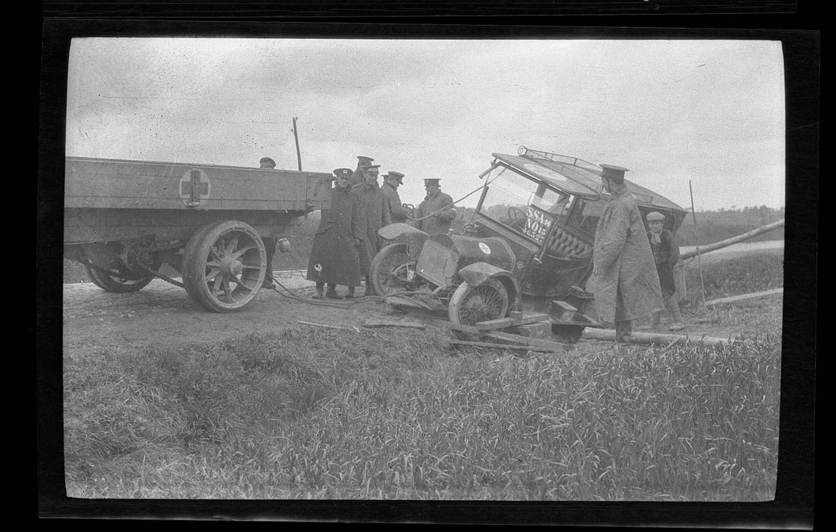 Ambulance car in ditch (Paul Cadbury papers)