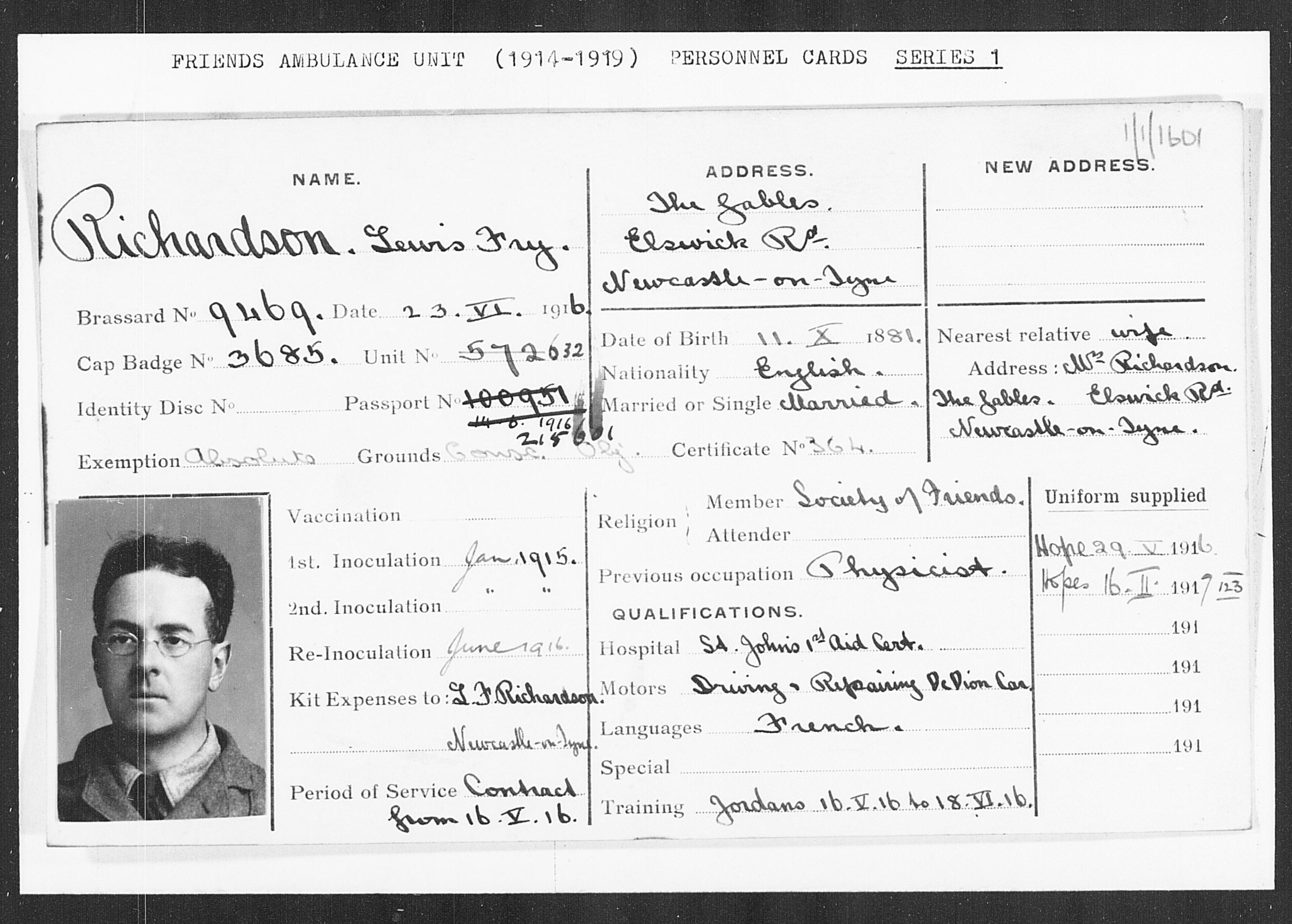 Personnel card for Lewis Fry Richardson (http://fau.quaker.org.uk)