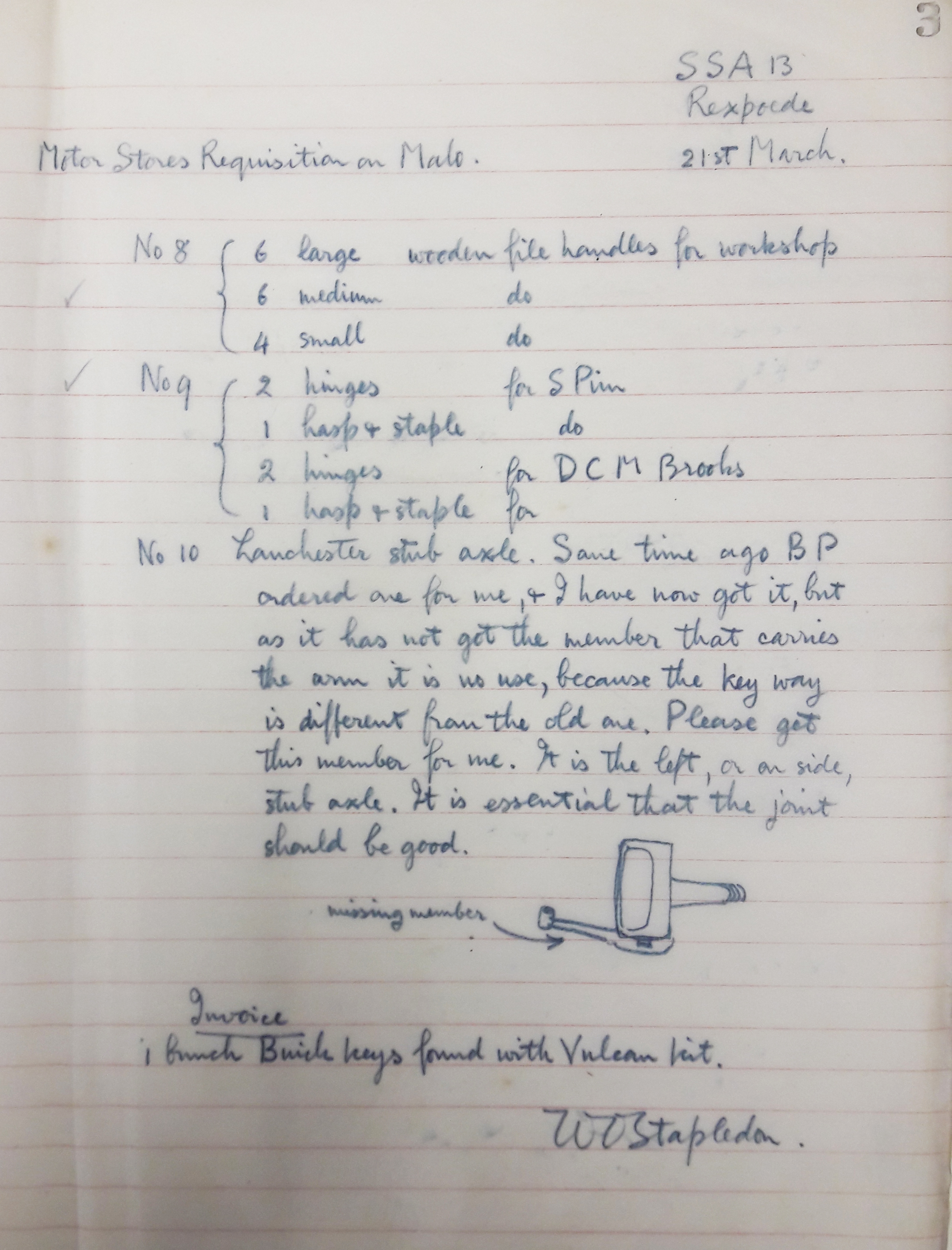 Requisitions book, Motor Store Records (TEMP MSS 881)