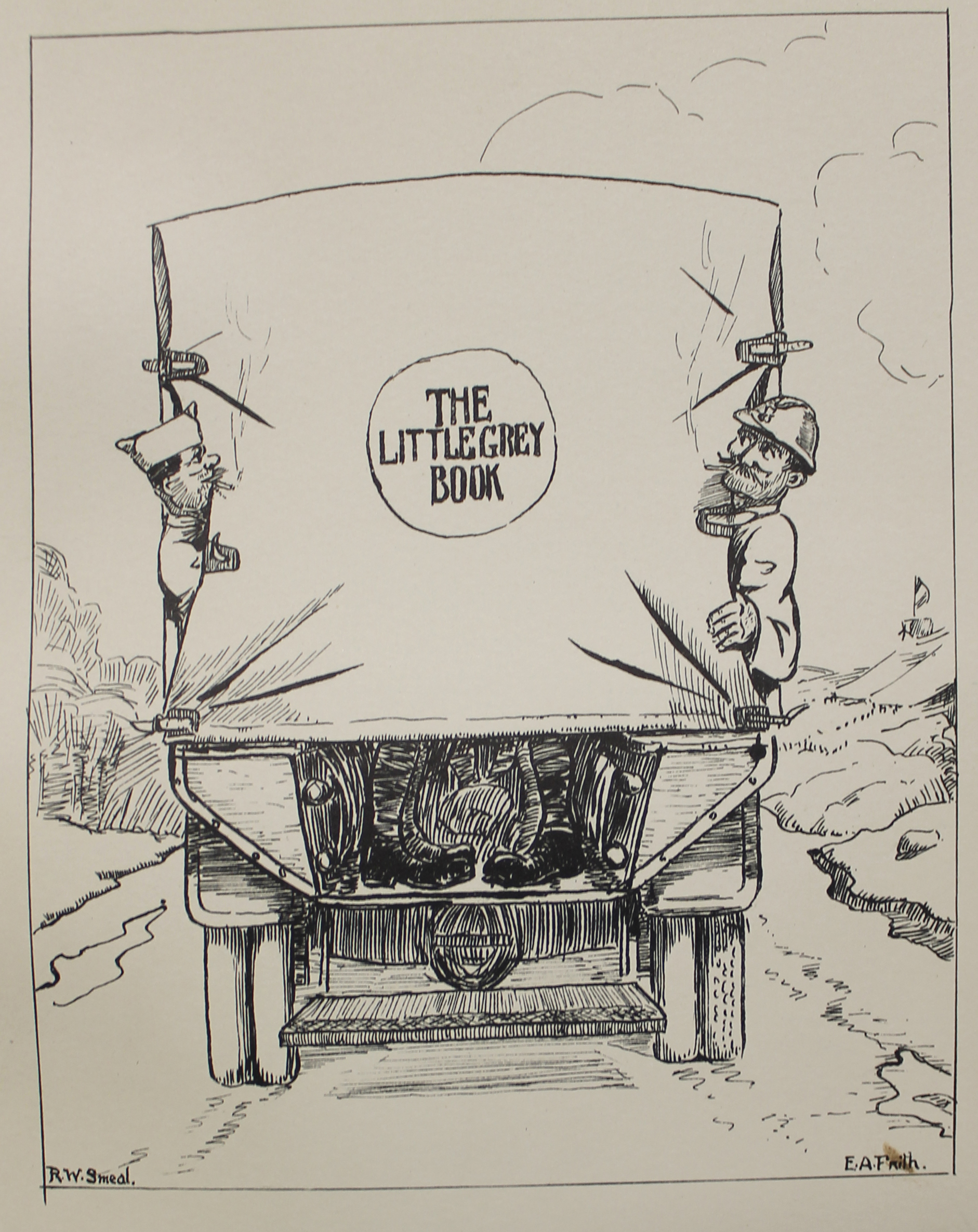 Illustration inside cover of The little grey book (being a souvenir volume of the S.S.A. 13)