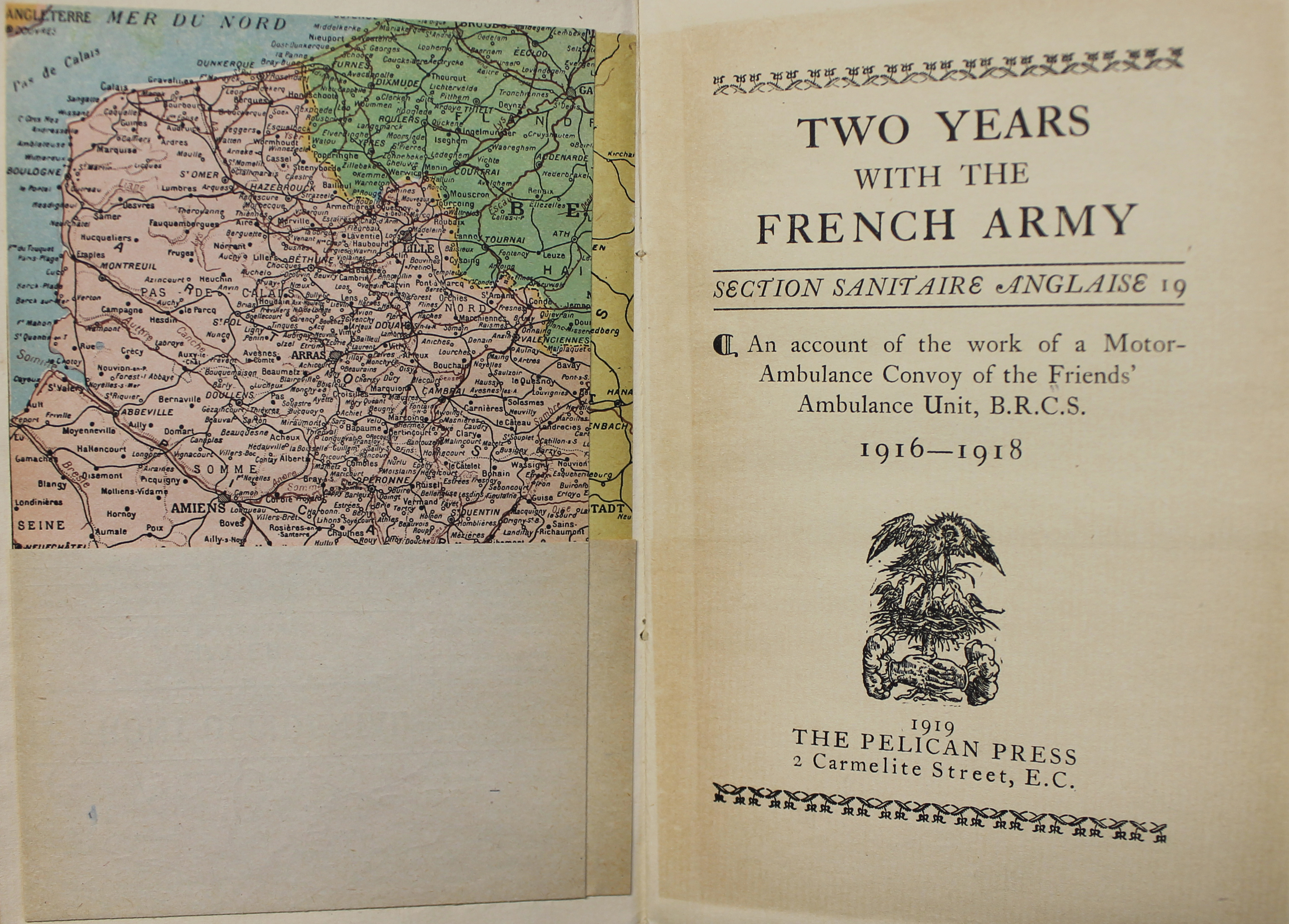Inside title page of Two years with the French Army : Section Sanitaire Anglaise 19