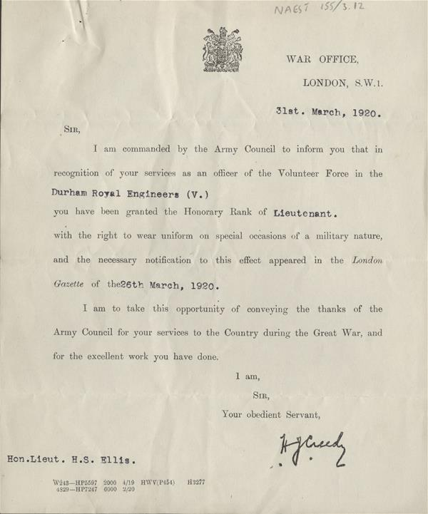 Letter from War Office