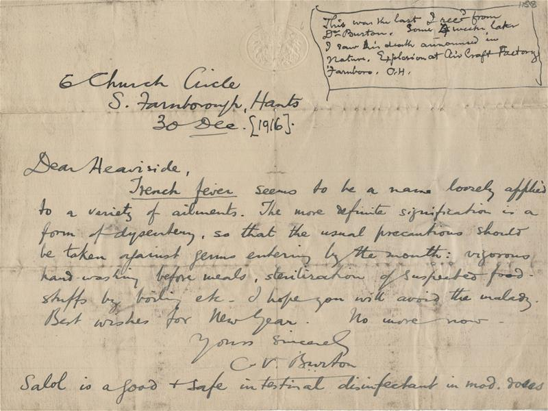 Burton's last letter to Heaviside (he died 4 weeks later) dated 30 December 1916