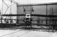 B.E.8 ready for a loading test; note the bags of sand laid out on the floor.